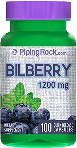 Piping Rock Bilberry Extract 1200 mg 100 Quick Release Capsules Dietary Supplement