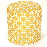 Majestic Home Goods Yellow Links Indoor/Outdoor Bean Bag Ottoman Pouf 16'' L x 16'' W x 17'' H