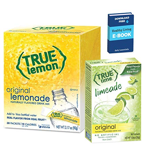 Daily Essentials True Lemon Lemonade Drink Mix 30 packets Lemonade with 10 packets Limeade - 40 Ct with Daily Essentials eGuide (Lemonade + Limeade)