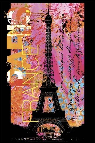 Haase Paris France Eiffel Tower Pop Art Poster Print 24 X 36 Inches