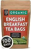 Organic English Breakfast Black Tea Bags | 100 Tea Bags | Chinese Keemun & Indian Assam Blend | Eco-Conscious Tea Bags in Foil Lined Kraft Pouch | by FGO