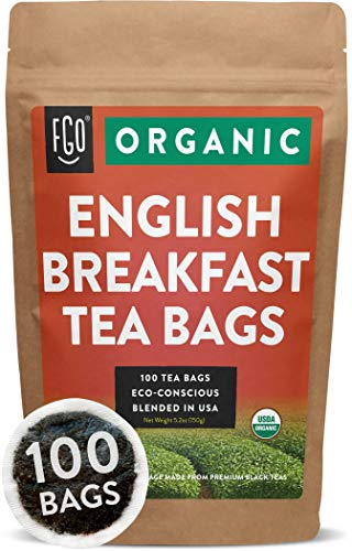 Organic English Breakfast Black Tea Bags | 100 Tea Bags | Chinese Keemun & Indian Assam Blend | Eco-Conscious Tea Bags in Foil Lined Kraft Pouch | by FGO (Best English Breakfast Tea)