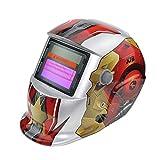 Hanbaili Welding Helmet, Red steel teethSolar Powered Welding Helmet Auto Darkening Hood, for Mig Tig Arc Welder Mask Blue Eagle Design