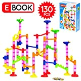 MetroTen Marble Run Toy Maze Ball Game Set for Kids, 130 Pieces with 30 Marbles, Race Coaster Educational Construction Building Blocks by