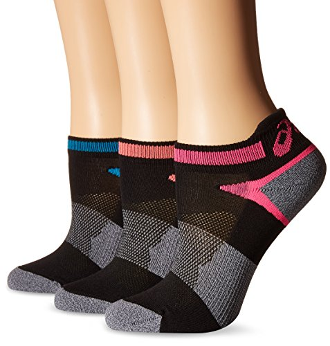 ASICS Women's Quick Lyte Cushion Single Tab Running Socks, Black Assorted, Small,Pack of 3