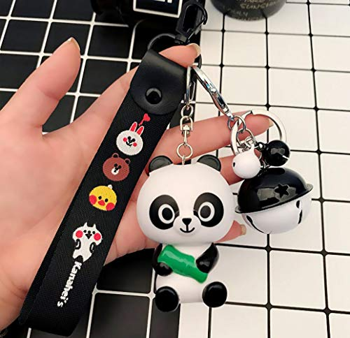 (Thedmhom 1 Pcs Cute Kawaii Korean Cartoon Panda Pangyo with Bamboo Keychain Line Friends Faces Black Wrist Strap Bell Keyring Novelty Toy Gift Fashion Love Ornament Coin Purse Bag Buckle Phone Pendant)