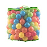 Tebery Pack of 200 Non-Toxic Crush Proof PE Plastic Ball, Pit Balls - 5 Bright Colors in Reusable and Durable Storage Mesh Bag with Zipper