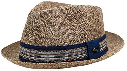 Mens Summer Fedora Hat, Linen Cotton Blend Stingy Brim, Porkpie Hat (Brown, L/XL)