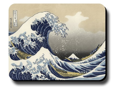 - Decorative Mouse Pad Art Print Painting Hokusai The Great Wave