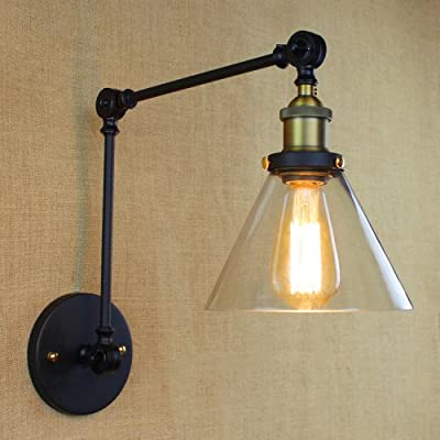 LightInTheBox Island Industrial Edison Simplicity 1 Light Wall Lamp Plug-in Wall Sconce Clear Glass Shade Swing Arm Wall Light Black 110V