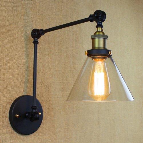 LightInTheBox Island Industrial Edison Simplicity 1 Light Wall Lamp Wall Sconce Clear Glass Shade Swing Arm Wall Light Black 110V