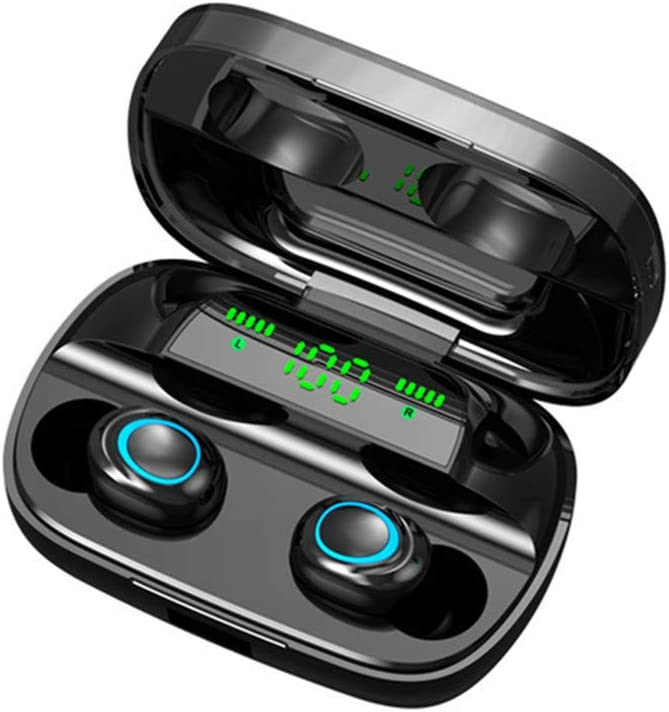 Binaural Headset HMJ Auricular inalámbrico Bluetooth 5.0 Pantalla es Adecuado para Todos Footing y Deportes (Black)