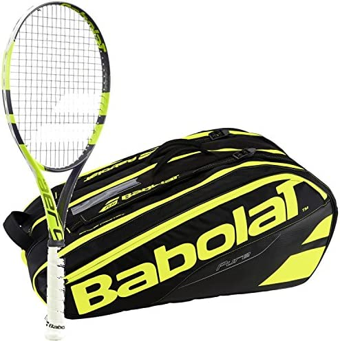 Babolat Pure Aero Liteイエロー/ブラック大人用テニスラケットwith a Pure Lineテニスバッグまたはバックパック
