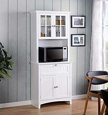 American Furniture Classics OS Home and Office Buffet and Hutch with Framed Glass Doors and Drawer, Large, White
