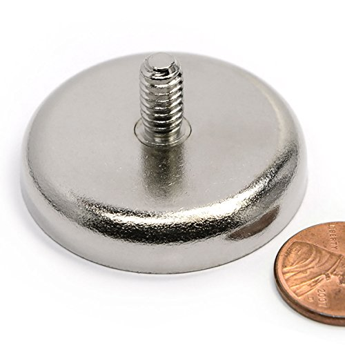 Neodymium Cup Magnet (Round Base) 112 Lbs Pulling Power W/male Threaded Stud 1 pack