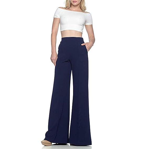 Women Casual Loose Solid High Waist Ruffle Full Length Wide Leg Pants WST