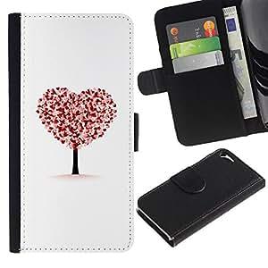 For Apple iPhone 5 / iPhone 5S,S-type® Heart Tree Autumn Fall White Love Deep - Dibujo PU billetera de cuero Funda Case Caso de la piel de la bolsa protectora