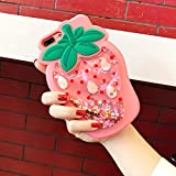 Artbling Case for iPhone 5 5S 5C SE Silicone 3D Cartoon Quicksand Fruit Cover,Kids Girls Cool Cute Cases,Bling Kawaii Soft Gel Rubber Glitter Character Funny Vivid Color Skin for iPhoneSE Strawberry