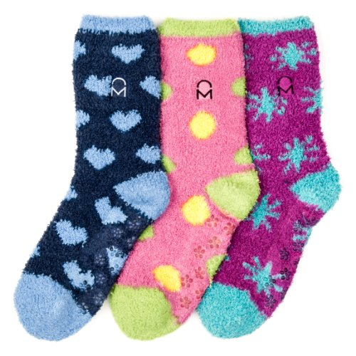 Noble Mount Women's (3 Pairs) Soft Anti-Skid Fuzzy Winter Crew Socks