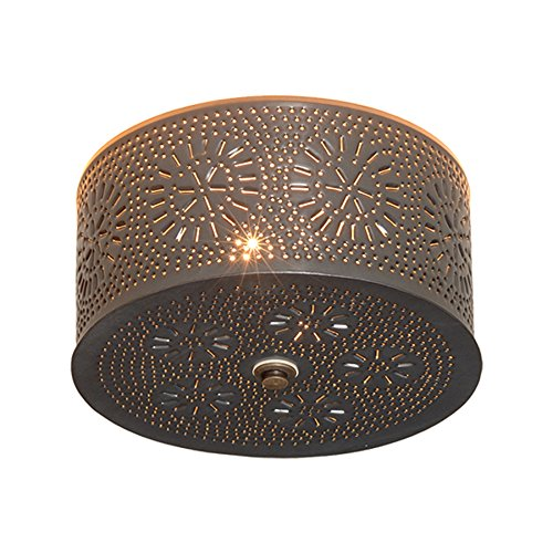 (Round Ceiling Light with Chisel in Country Tin)