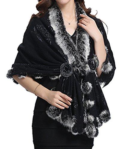 helan-womens-rex-rabbit-fur-single-button-cape-coat-black