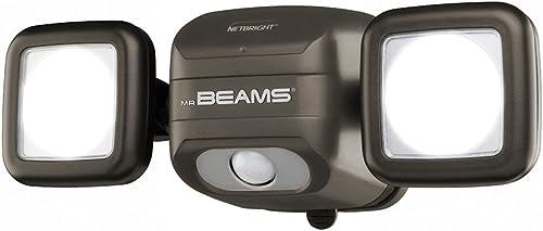 Mr. Beams MBN3000 Netbright 500 Lumen High Performance Wireless Battery Powered Motion Sensing LED Dual Head Security Spotlight, Brown