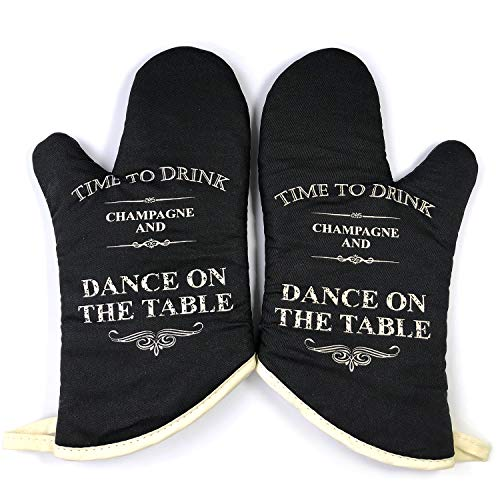 GREVY Vintage Oven Mitts with a Greeting Card (Drink-Dance) by GREVY