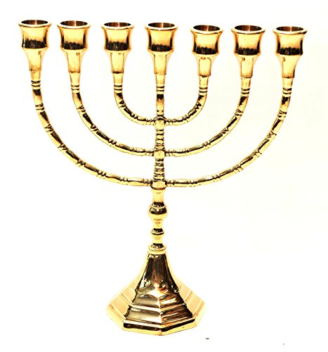 Large Menorah Gold Plated From Holy Land Jerusalem H/30 x W/26 CM by Jerusalem Menorah