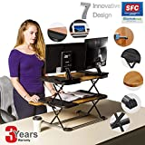 Adjustable Standing Desk, Ergonomic Stand Up Computer Desk/ Natural Bamboo, Anti-Skid Stand Up Desk, Adjustable In 24 Positions/ Spacious, Stable, Easy Conversion Desk Sit Stand for Home &Office