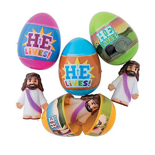 Fun Express - He is Risen Filled Easter Egg for Easter - Party Supplies - Pre - Filled Party Favors - Pre - Filled Plastic Containers - Easter - 12 Pieces