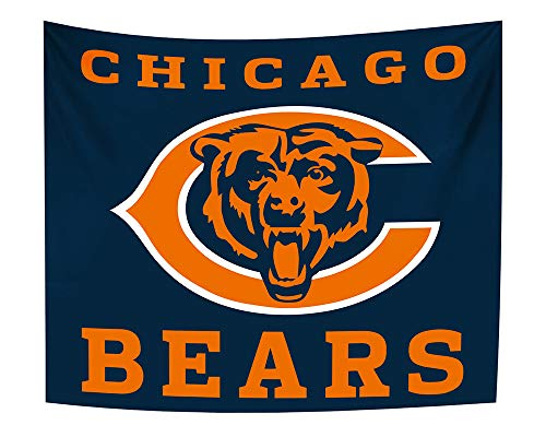 Gloral HIF Chicago Bears Tapestry Bedroom Decor Home Decals Blanket for Fans 50x60 Inches