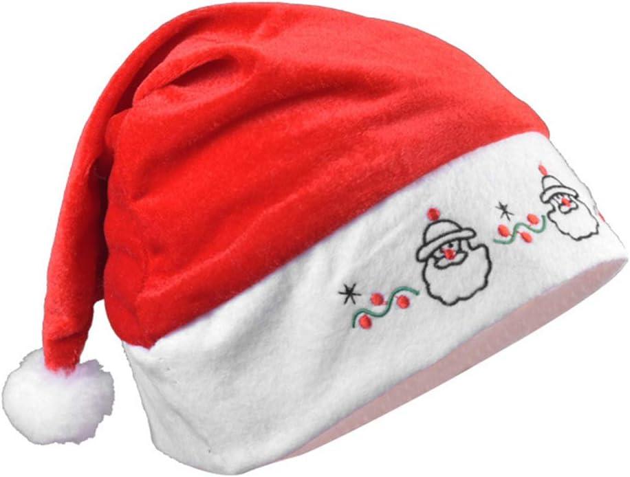 Bonnet de Noel pour Enfants et Adultes MeiLiu Chapeau de No/ël 3 pi/èces Chapeau brod/é de Confort pour la f/ête de Vacances de No/ël Nouvel an Chapeau en Peluche Rouge et Blanc Traditionnel