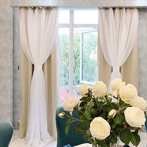 PONY DANCE Mix & Match Sheer Window Curtains - Window Treatments Light Block Curtain Drapes Blackout Panels with Extra Tie-Backs for Living Room, 52 by 95 in, Biscotti Beige, 2 Pieces