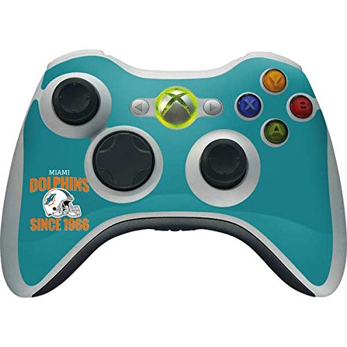 (Skinit NFL Miami Dolphins Xbox 360 Wireless Controller Skin - Miami Dolphins Helmet Design - Ultra Thin, Lightweight Vinyl Decal Protection)