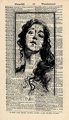 POTRAIT ART PRINT - ARTWORK - VINTAGE LADY ART PRINT - VINTAGE Art - Illustration - Black & White Print - GIFT - Vintage Dictionary Art Print - Wall Hanging (Victorian Woman Portrait)