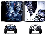 Cosines PS4 Slim Stickers Vinyl Decal Protective Console Skins Cover for Sony Playstation 4 Slim and 2 Controllers AVP Alien VS. Predator