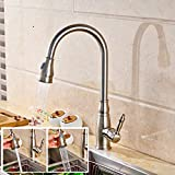 FZHLR Kitchen Sink Faucet Single Handle Swivel Spout Mixer Tap Nickel Brushed Cold Hot Mixer Water Tap Deck Mounted