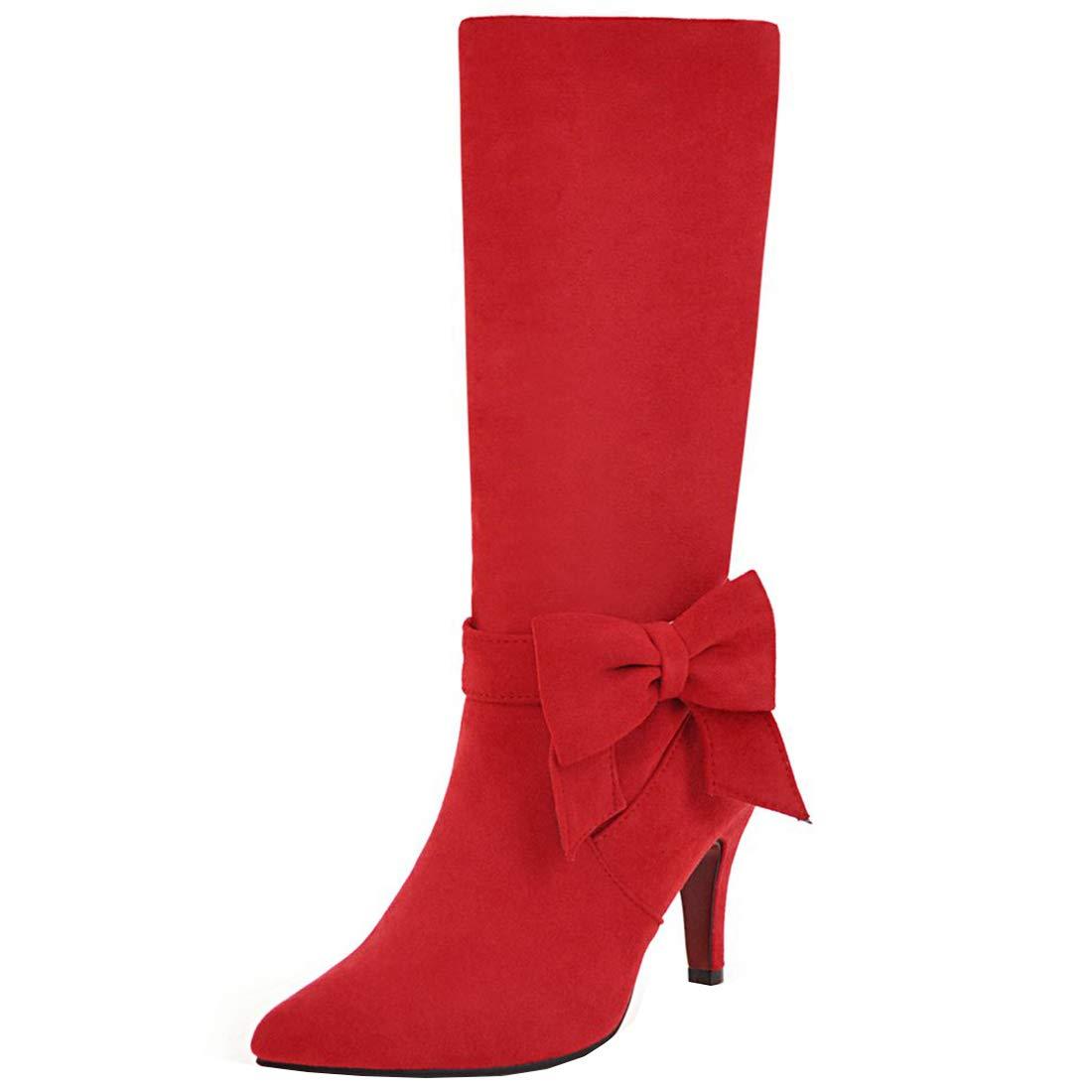 YE Chaussure Sweet Noeud Longue Bout Botte Botte Mi Mollet Stretch Fourrure Femme Bout Pointu Talon Haut Aiguille avec Noeud Rockabilly Rouge 0a0488c - reprogrammed.space