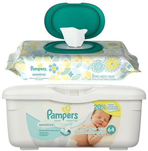 Pampers Sensitive Wipes Pop Top 56 ct Bundle with Travel Pack Refill Tub 64 ct