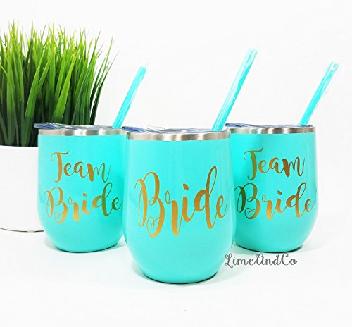 Team Bride Personalized Stainless Steel Wine Tumbler Custom Wine Glass Bridesmaid Gift Bachelorette Party Cup Bachelorette Party Favor Vinyl Decal Tumbler With Lid amp Straw Magnolia Sky