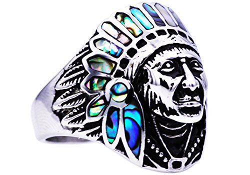 Blackjack Jewelry Mens Stainless Steel Abalone Native American Ring (10)