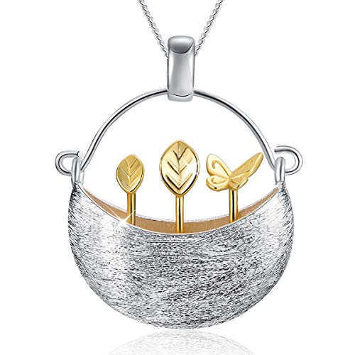 Sterling Silver Unique Design Pendant - Lotus Fun S925 Sterling Silver Necklace Pendant Handmade Unique Jewelry for Women and Girls, My Little Garden Design Pendant with Necklaces Link Chain Length 17inches,Gift Packed (Gold)