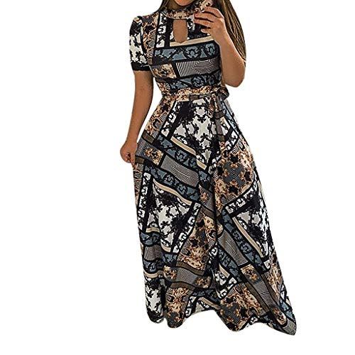 Women Floral Casual Plus Size Dress TANGSen Ladies Fashion Summer Evening Holiday Party Long Tunic Sundress Sky Blue