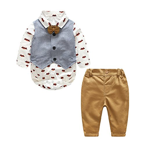 Smart Bear Baby Boy Gentleman Cartoon Foxes Bowtie Rompers + Vest + Pants Toddler Suit 3pcs Outfit Wedding (80/6-12 Months)