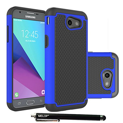 Melop Galaxy J3 Emerge Case, Hybrid Dual Layer Tough Ultra Defender Protective Shell Case Cover Samsung Galaxy J3 Emerge 2017 / Express/Amp Prime 2 /Sol 2/ Eclipse/Luna Pro / J327P - Blue
