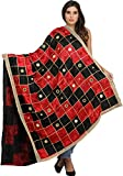 Exotic India Phulkari Dupatta from Punjab with Embroide - Color Black And Red