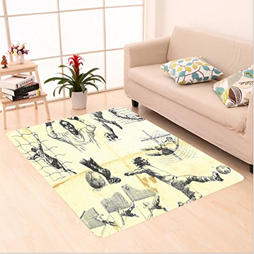 Nalahome Custom carpet lection of Different Soccer Player and Goalkeeper Positions Soccer Theme Sketch Art Yellow Black area rugs for Living Dining Room Bedroom Hallway Office Carpet (5' X 8') by Nalahome
