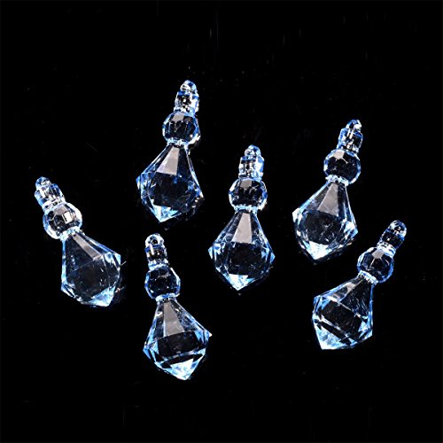 (Saim Large Crystal Blue Acrylic Beads Chandelier Drops Hanging Wedding Party Decor Pendants Parts Pack of 100 )