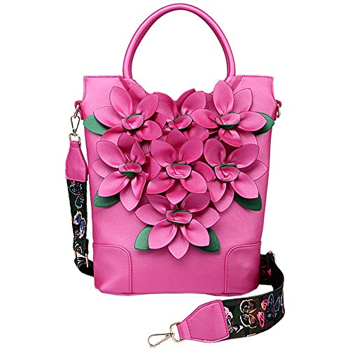 SunyixinNb Bolso y bolso de mano para mujer,blanco Rose red