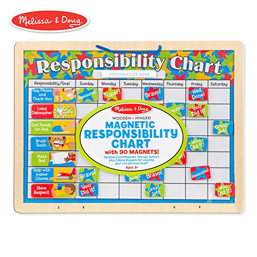 Melissa & Doug Magnetic Responsibility Chart (Developmental Toy, Encourages Good Behavior, 90 Magnets, 15.6